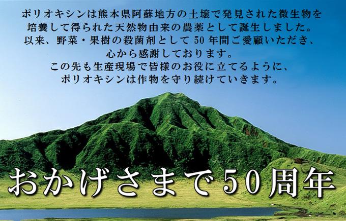 ポリオキシンは熊本県阿蘇地方の土壌で発見された微生物を培養して得られた天然物由来の農薬として誕生しました。以来、野菜・果樹の殺菌剤として50年間ご愛顧いただき、心から感謝しております。この先も生産現場で皆様のお役に立てるように、ポリオキシンは作物を守り続けていきます。 おかげさまで50周年